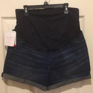 Isabel Maternity Denim Blue Jean Shorts Women's 10